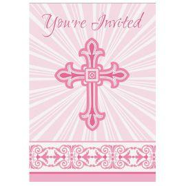 8 Convites Comunhão Cruz Rosa