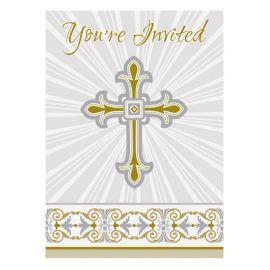 8 Convites Comunhão Cruz Ouro e Prata