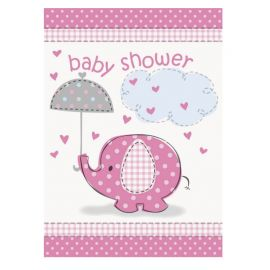 8 Convites Baby Shower Elefante Menina