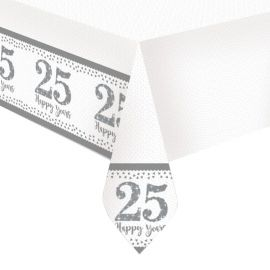Toalha de Mesa Bodas de Prata de Plástico 1,2 m x 1,8 m