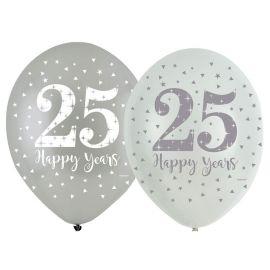 6 Balãos Bodas de Prata de Látex 27 cm