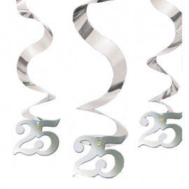 5 Decorativos Pendentes Forma Espiral Bodas de Prata
