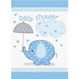 8 Convites Baby Shower Elefante Menino