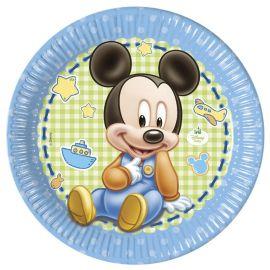 8 Pratos Baby Mickey 23 cm