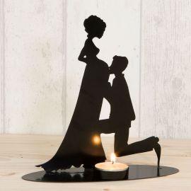 Figura de Noivos Porta-Velas Noiva Grávida