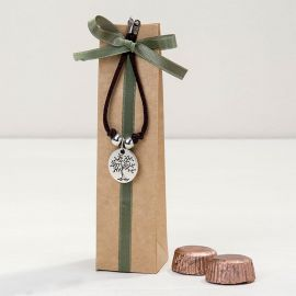 Pulseira com Medalha Árvode/Life is a Gift com 2 Chocolates