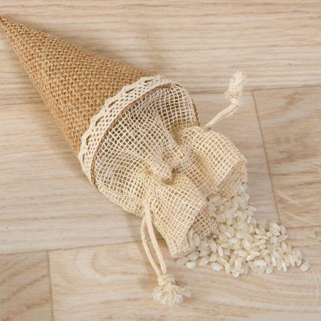 12 Cones de Juta com Fita para Pendurar com Fechamento 15 cm