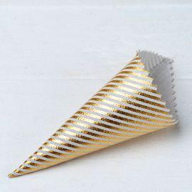 12 Cones com Listras Douradas 19 cm x 5 cm x 5 cm