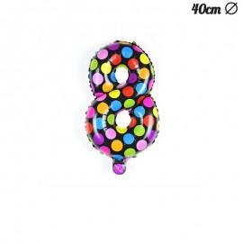 Balão Bolinhas Número 8 Foil 40 cm