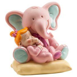 Figura de Elefante con Bebé Niña 10 cm