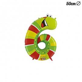 Globo Gusano Numero 6 Foil 50 cm