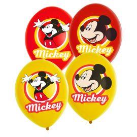 6 Balões Mickey Mouse de Látex Vermelho e Amarelo