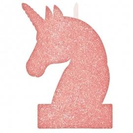 Vela Unicornio Rosa com Brilhante 8 cm x 13 cm
