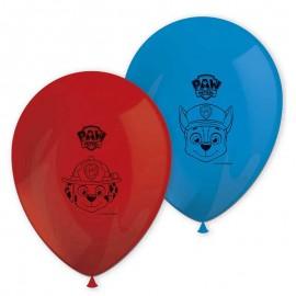 8 Balões Patrulha Canina de Látex Vermelho e Azul