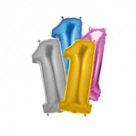 Balão Número 1 Foil 35 cm