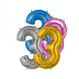 Balão Número 3 Foil 35 cm