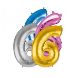 Balão Número 6 Foil 35 cm