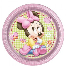 8 Pratos Baby Minnie 23 cm