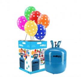 Garrafa de Hélio Pequena com 30 Balões Bolinhas
