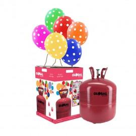 Garrafa de Hélio Grande com 50 Balões Bolinhas