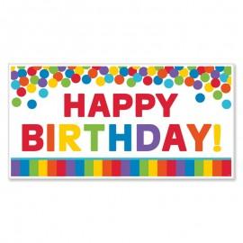 Fundo Happy Birthday Arco-Iris 165 x 85 cm