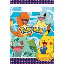 8 Bolsas Pokémon de Plástico 23.4 x 16.2 cm