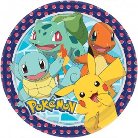 8 Platos Pokémon Papel Redondos 22.8 cm