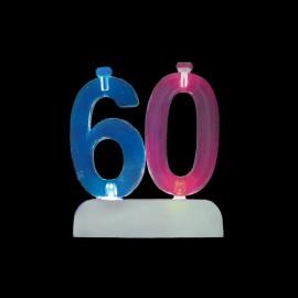 4 Velas e Número 60 Piscante