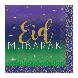 16 Servilletas Eid Mubarak 25 cm
