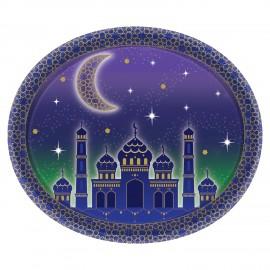 8 Platos Eid Mubarak Oval 30 cm