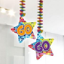 2 Decorativos Pendentes 60 forma Estrela Multicolor