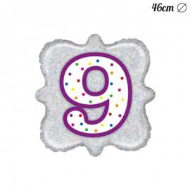 Globo Número 9 Foil Cuadrado 46 cm
