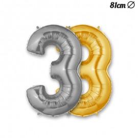 Balão Número 3 Foil 86 cm