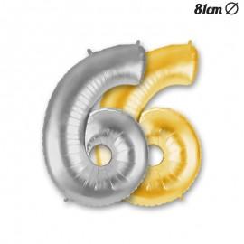 Balão Número 6 Foil 86 cm