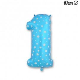 Balão Número 1 Foil Azul com Estrelas 81 cm