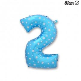Balão Número 2 Foil Azul com Estrelas 81 cm