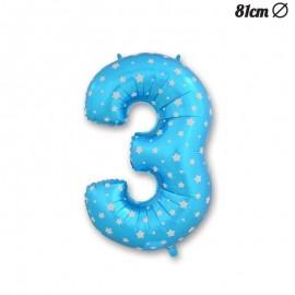 Balão Número 3 Foil Azul com Estrelas 81 cm