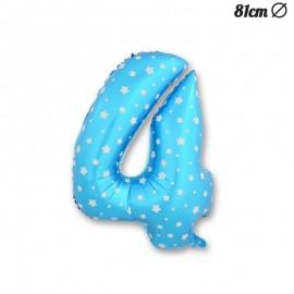 Balão Número 4 Foil Azul com Estrelas 81 cm