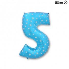 Balão Número 5 Foil Azul com Estrelas 81 cm