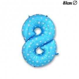 Balão Número 8 Foil Azul com Estrelas 81 cm