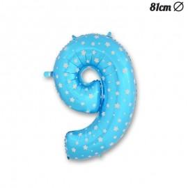Balão Número 9 Foil Azul com Estrelas 81 cm