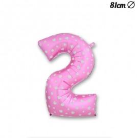 Balão Número 2 Foil Rosa com Corações 81 cm