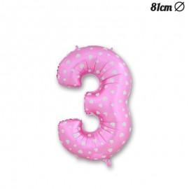 Balão Número 3 Foil Rosa com Corações 81 cm