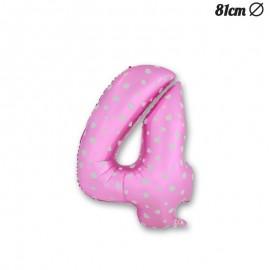 Balão Número 4 Foil Rosa com Corações 81 cm