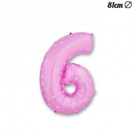 Balão Número 6 Foil Rosa com Corações 81 cm