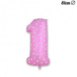 Balão Número 1 Foil Rosa com Corações 81 cm