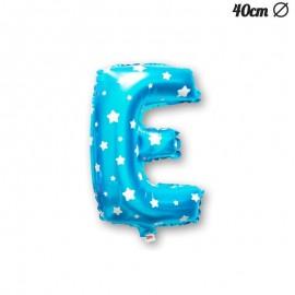 Balão Letra E Foil Azul com Estrelas 40 cm