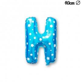Balão Letra H Foil Azul com Estrelas 40 cm