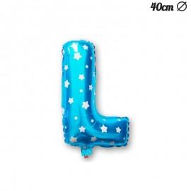 Balão Letra L Foil Azul com Estrelas 40 cm