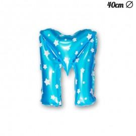 Balão Letra M Foil Azul com Estrelas 40 cm